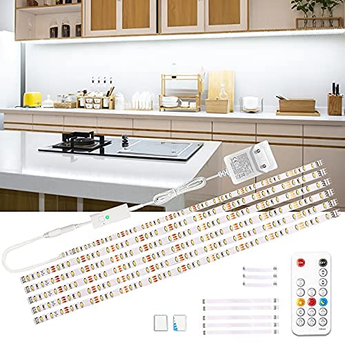 Wobsion Luci led cucina sottopensile, Striscia led 3M bianco freddo,led per cucina sottopensile,striscia led adesiva, striscia LED 6X50cm dimmerabile, striscia LED 6000K lampada da cucina 1500 lm
