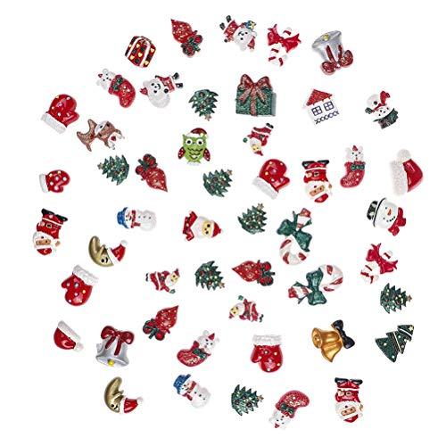 Adasea 50 PCS Christmas Crafts Resin Flatback DIY Arts Crafts Necklace Jewelry Making Xmas Decorations
