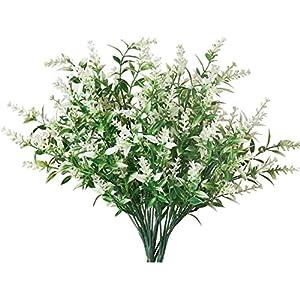 Silk Flower Arrangements 10 Bundles Artificial Flowers Outdoor Faux Lavender Silk Flowers Fake Plastic Shrubs Greenery Bushes Bouquet for Home Décor, Garden Wedding (White)