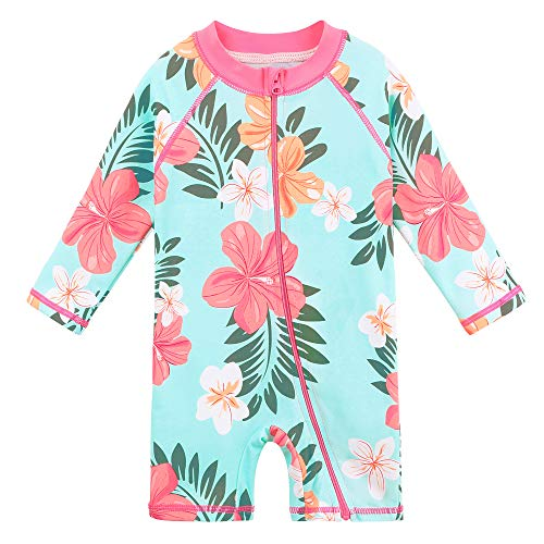 HUAANIUE Baby Meisjes Een Stuk Badpak Lange Mouw Badmode UPF 50+ UV Sunsuit Leuke Icecream Zwemmen Kids Wetsuit Rits 4-12Y Zwemkleding