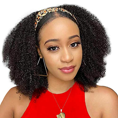 A Alimice Headband Wig Afro Kinky Curly Human Hair Wig For Black Women Head Band Wig Curly Human Hair Wig Curly Hair Wig 180% Density Headband Wigs For Black Women human hair (14, kk band color)