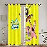 Cortinas decorativas Bob Esponja cuadradas, cortinas para sala de estar infantil, cortinas con ojales, 106,7 x 160 cm