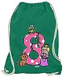 Hariz - Bolsa de deporte, diseño de princesa con 8 cuentos, verde (Verde) - AchterGeburtstag44-WM110-5-1