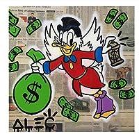 木枠貼り付け加工済み アレック・モノポリー Alec Monopoly 大型サイズあり キャンバス ポスター 美術品 絵画 落書き アート (40×40cm)