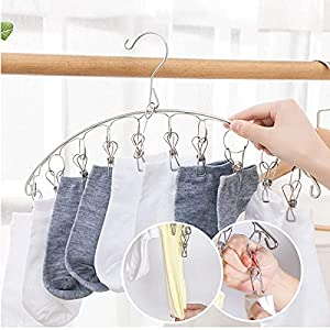 SHAFIRE Stainless Steel Rust-Free Drying Hanger, Clothes Hanger, Hanger, Underwear Hanger, Hanger for Baby Clothes with 10 Clip Pegs