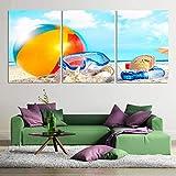 LWJZQT Leinwanddrucke 3 Stücke Moderne Sommer Strand Leinwand Malerei Ball Tauchen Spiegel Shell...