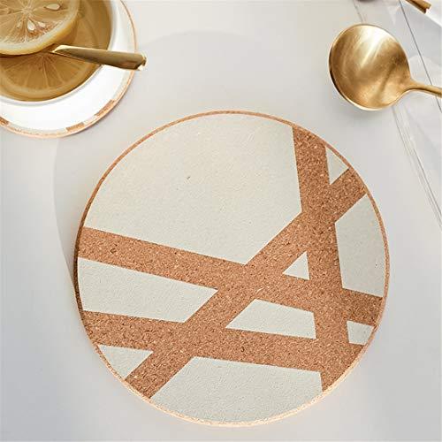UNIMATSPADS Coaster - Manteles individuales con diseño geométrico, alfombra de corcho, alfombra de mesa Coaster blanco, 10 cm