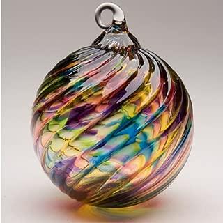 Glass Eye Studio Hand Blown Glass Ornament - Rainbow Twist