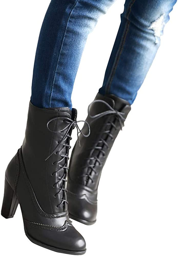 Mid Calf Boots for Women Lace Up Ankle Booties Winter Fashion Pointed Classic Leather High-Heeled Shoes Sunmoot-Shoes