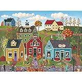 Spilsbury - 1000 Large Piece Premium Jigsaw Puzzle for Adults by Artist Kim Leo - Pumpkins On Pebble Lane X - Spilsbury Puzzle Company Premium Collection