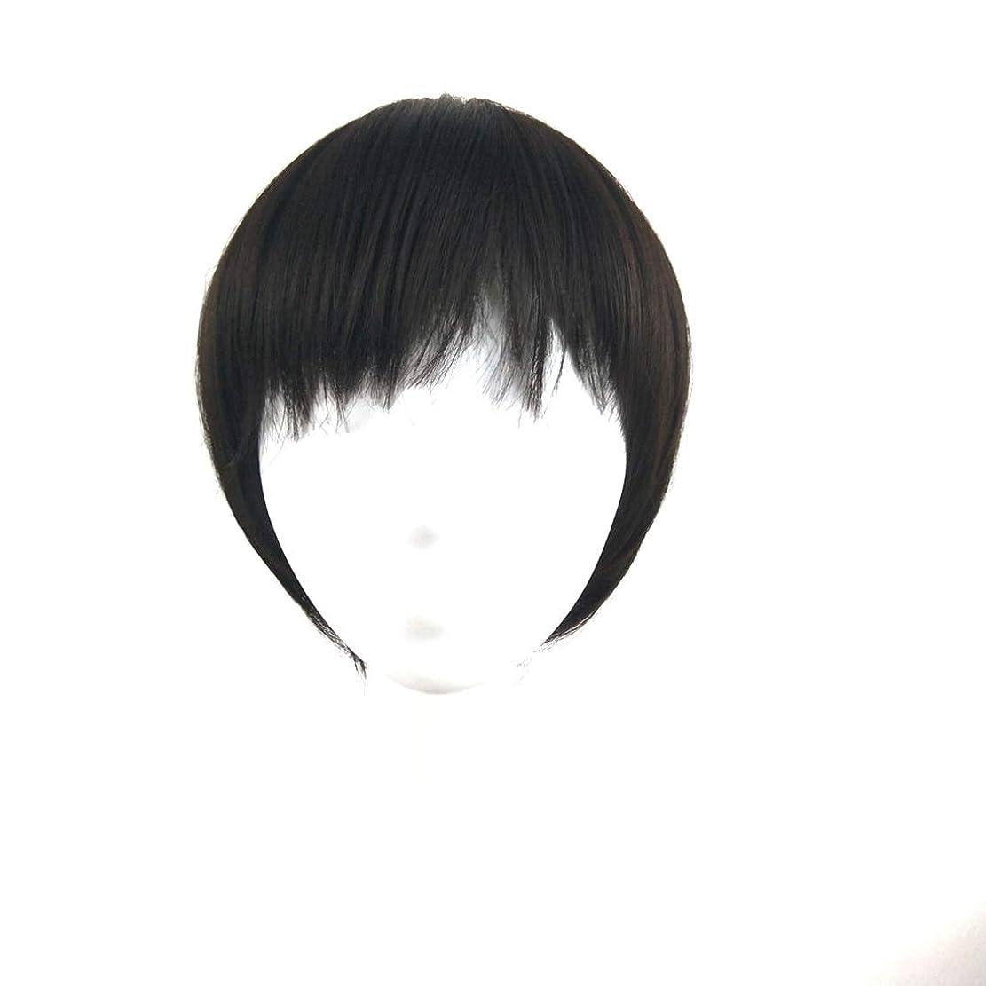 講義レクリエーションビットSummerys ウィッグショートヘア斜め前髪ウィッグヘッドギア自然に見える耐熱性女性用 (Color : Black)