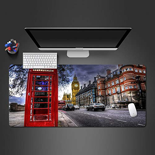 JIACHOZI Mouse pad for Girls London Street red Phone Booth 700×300×3mm Large Gaming Mouse Pad with Stitched Edges, Extended Mousepad with Superior Micro-Weave Cloth, Non-Slip Base, Keyboard Pad,