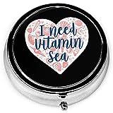 Ho bisogno di vitamina Sea Seashell Cuore tondo portatile portapillole argento tasca 3 scomparto portamonete per tasca o borsa