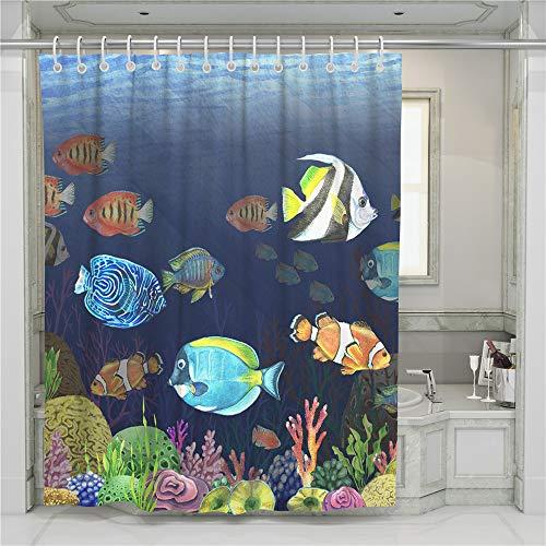 Treer Anti-Schimmel und Wasserdicht Duschvorhang für Badezimmer, Meerestier 3D-Druck mit 12 Duschvorhangringe Waschbar Duschvorhang (Amphiprioninae,90x180cm)