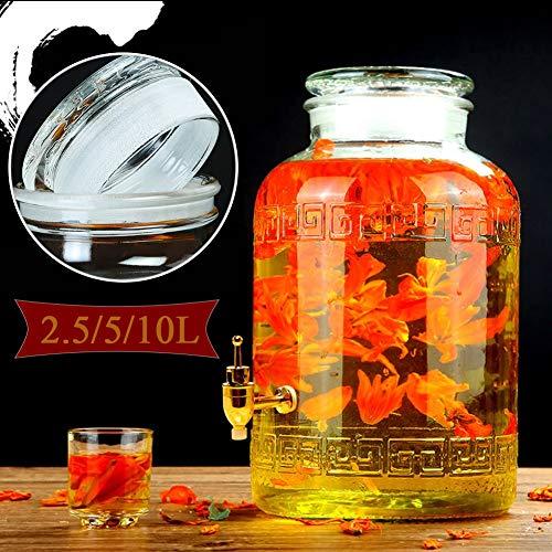 Glazen drank dispenser met lek gratis spigot en hout Stand,Home Entertainment Glaswerk voor sap/bier/Punch/Iced koude dranken ~
