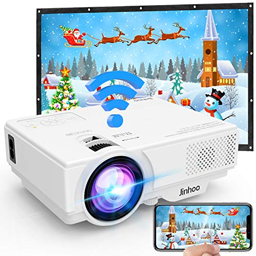 Proyector, Proyector WiFi, Proyector 5500 Lumens Soporta Full HD 1080P, Proyector Mini Compatible con TV Stick HDMI VGA USB TF AV, para Cine en Casa y Películas al Aire Libre.