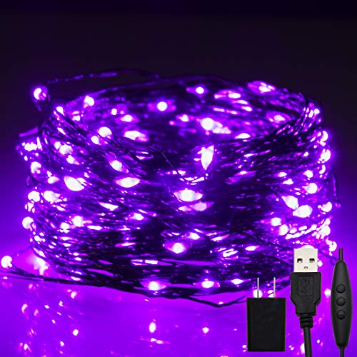 Twinkle Star 200 LED 66ft Halloween Fairy String Lights USB & Adapter Powered, Dimmable Control Starry Black Wire Lights Home Lighting Indoor Outdoor Bedroom Wedding Christmas Party Decoration, Purple