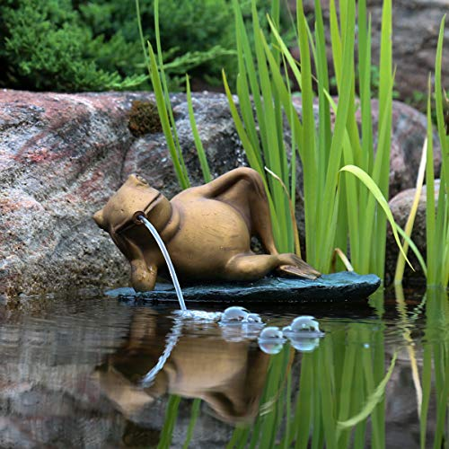 Aquascape 78311 Lazy Frog on Lily Pad Pond and Garden Water Fountain, Patina