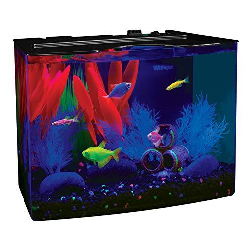 GloFish Crescent aquarium Kit 3 Gallons, Includes Hidden Blue LED Light And Internal Filter