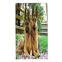 WOTAKA フェイスタオル 2枚セット,かわいいペットジャーマンシェパード犬 柔らか肌触り おしゃれ ハンドタオル 四季通用 タオル 家庭用/業務用/ホテル/スポーツなどに最適,40x70cm