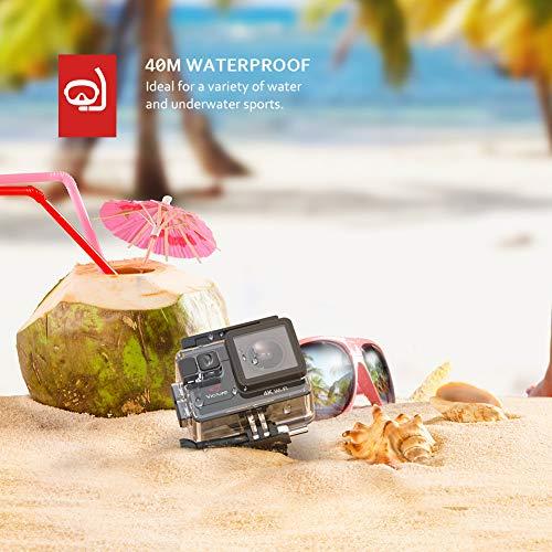 Victure Action Cam 4K 16MP Kamera 40M Wasserdichte Unterwasserkamera Digitale WiFi actioncam mit EIS Sensor, 2.4G Fernbedienung, externem Mikrofon und Montage Zubehör Kit - 5