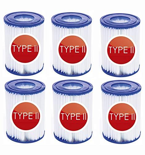 NJYBF Filterpatronen für Pool, für Bestway II Filter Größe 2, Spa Ersatz Aufblasbarer Poolreinigungsfilter Zubehör, Filterkartuschen Kartuschenfilter Papier. (6 PCS)