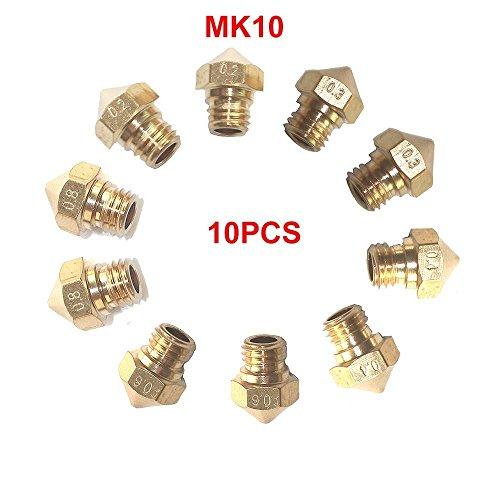 Tenlacum - 10 ugelli per estrusore MK10 M7 per stampante 3D Wanhao Dupicator D4/I3/Dremel Makerbot 5 diverse dimensioni 0,2 mm, 0,3 mm, 0,4 mm, 0,6 mm, 0,8 mm (ogni dimensione 2 pezzi)