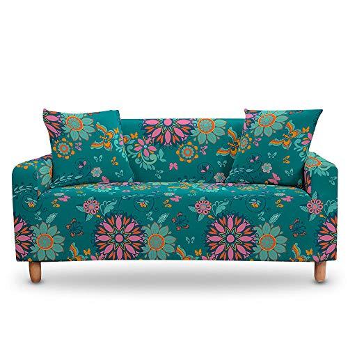 Vlejoy Cubierta Sofa con Cuerda De Fijación Mandala Flor Antideslizante Elástico Elástico Funda Decorativa 1/2/3/4 Plazas Protector De Muebles-Color-C_2 Plazas (145-185cm)