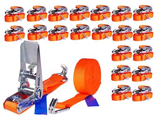 INDUSTRIE PLANET 20 Stück 800kg 4m Spanngurte mit Ratsche zweiteilig 2 teilig mit Haken Ratschengurt Zurrgurte 25mm 800 daN 0,8t