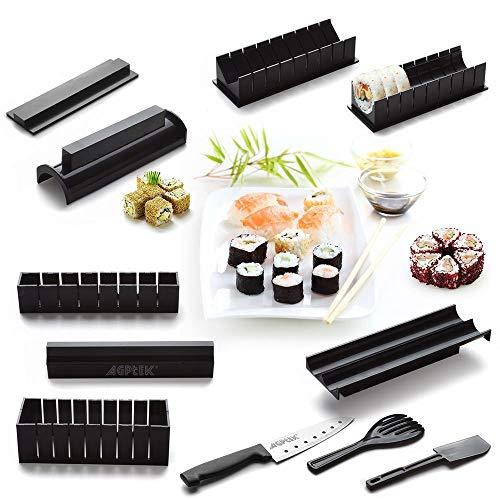 11pcs sushi Maker kit DIY rollo de arroz rollo de arroz japonés pastel de bolas rollo molde de sushi multifuncional molde hacer sushi herramientas incluyendo sashimi cuchillo fácil de usar