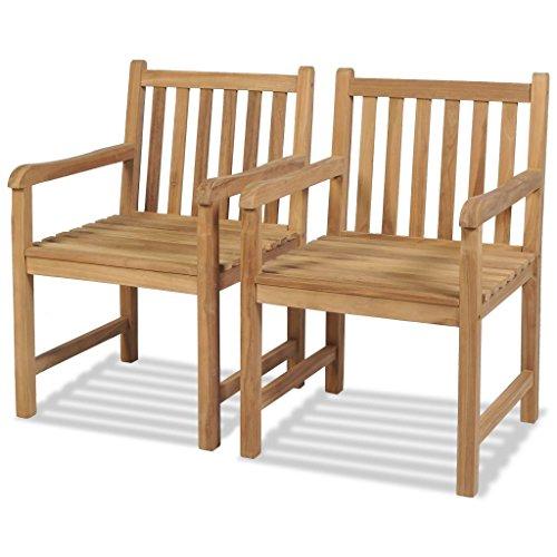 vidaXL vidaXL 2X Teak Massiv Gartenstuhl mit Armlehne Essstuhl Holzstuhl Gartensessel Stuhl Stühle Sessel Gartenstühle Terrassenstuhl Garten
