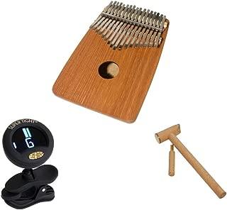 Kalimba Thumb Piano Package Includes: Dobani Thumb Piano Kalimba 17-key, W/Rounded Back - Red Cedar + Clip-on Chromatic Tuner + Hammer & Tuner For Kalimba Thumb Piano