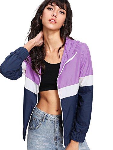 Floerns Women's Color Block Hooded Casual Thin Windbreaker Jacket Blue Purple XS