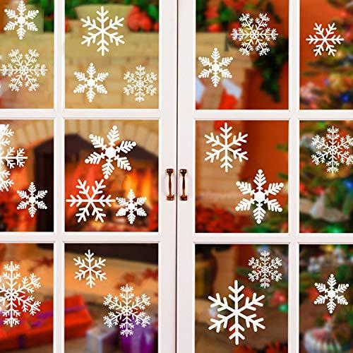 ASANMU Fensterbild Weihnachten, Weihnachts Fensterbilder Weihnachtsdeko Schneeflocken Fensterbild für Weihnachts Fensterdeko Statisch Haftende PVC Aufkleber Deko Weihnachten für Fenster Schaufenster