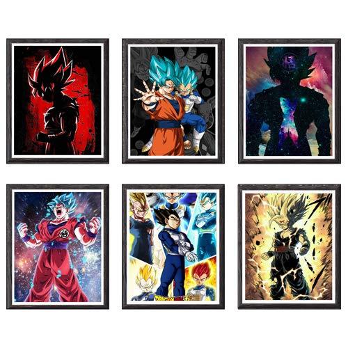 Impression sur toile du manga Dragon Ball guerriers SSJ, 20,3 x 25,4 cm, sans cadre, lot de 6 pièces