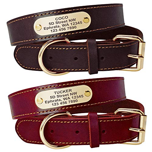 Beirui Genuine Leather Personalized Dog Collars with Nameplate ID Tags, Custom Dog Collars Engraved...