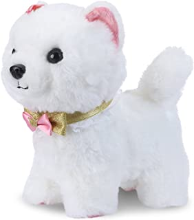 Shinehalo Walking and Barking Puppy Dog Toy Pet Electronic Plush Dog Plush Interactive Pet Toys with Remote Control Leash, Gift Toys for Toddlers and Kids, White