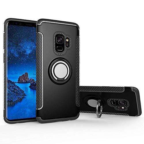 Hoesje voor Samsung Galaxy S9 (5,8 inch Scherm) Magnetische 360 Graden Rotatie Ring Armor Beschermende Case (Zwart)