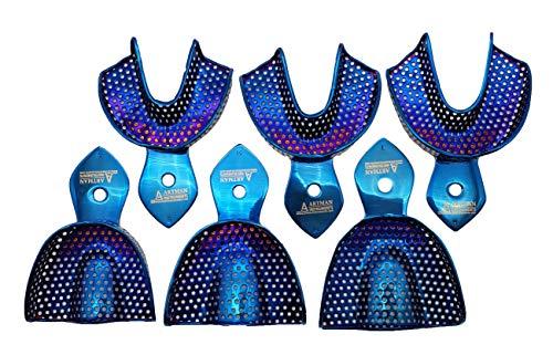 Dental Impression Trays Plasma Coated Set of 6 Quick Cleaning Metallic Blue