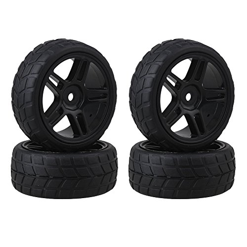 ShareGoo 12mm Hub Wheel Rims & Rubber Tires for RC 1/10 on-Road Touring Racing Drift Car(Pack of 4)