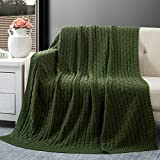 RUDONMG Forest Green Cotton Cable Knit Throw Blanket, Cozy Warm Knitted Couch Cover Blankets, 60 x 80 Inch