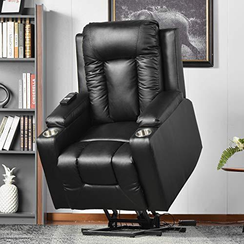 BTM Elektrischer Lehnstuhl für ältere Menschen,Relaxsessel Senior Fernsehsessel Leder,mit Seitentasche und Getränkehalter, Aufstehfunktion,verstellbare Rückenlehne und Fußteil