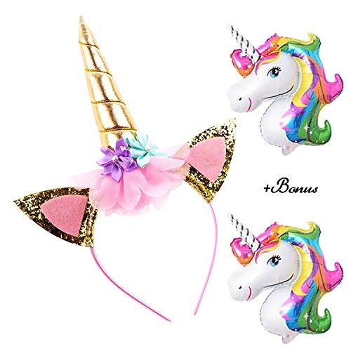DRESHOW Diadema de unicornio Oro Unicornio brillante Diadema de flores de rosas para niñas...