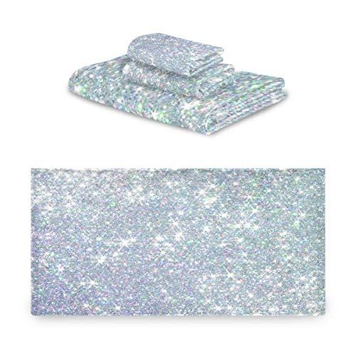 Pac Mac - Juego de 3 toallas de algodón con purpurina y perlas plateadas, supersuaves (1 toalla de baño, 1 toalla de mano, 1 toalla) para baño y hotel y spa