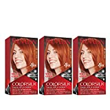 Revlon Colorsilk Beautiful Color Permanent Hair Color with 3D Gel Technology & Keratin, 100% Gray Coverage Hair Dye, 45 Bright Auburn, 4.4 oz (Pack of 3)