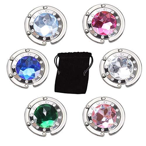 ManLee 6pcs Handtaschenhalter Schmucksteine Taschenhalter für Tisch Taschenhaken Handtasche für Frauen Mädchen Handtasche Schmuck Halsketten