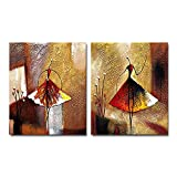 Wieco Art Ballet Dancers 2 Piece Modern Decorative Artwork 100% Hand Painted Contemporary Abstract...