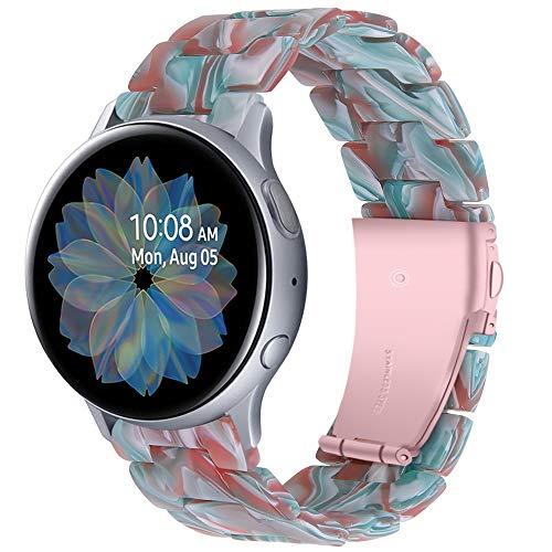 Miimall Compatible con Samsung Galaxy Watch Active2 44 mm 40 mm / Galaxy Watch3 41 mm pulsera de 20 mm ultraligera de resina de repuesto deportiva impermeable para Galaxy Watch 42 mm – Verde Rojo