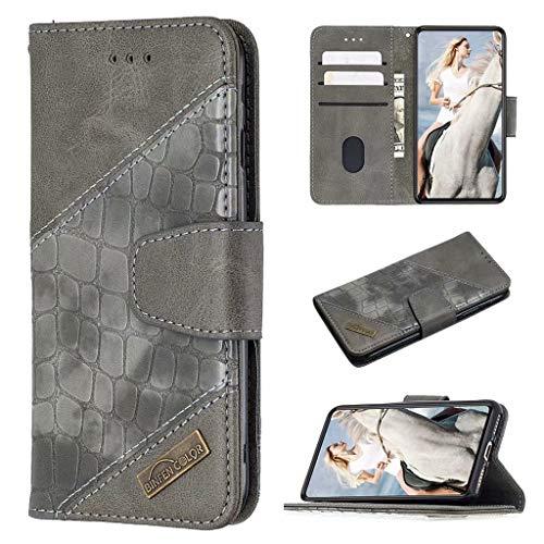 xinyunew Handyhülle für Samsung Galaxy A50 Hülle Leder,Samsung Galaxy A50 Klapphülle Handytasche Hülle für Samsung Galaxy A50 Handy Hüllen, Grau