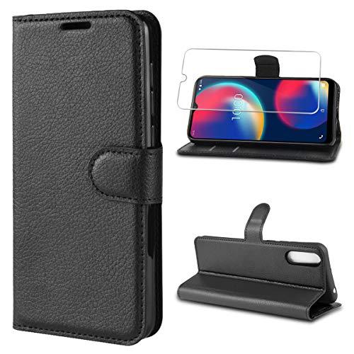 xswill Hülle Kompatibel mit Wiko View 4, Schwarz PU Leder Flip Brieftasche Schutzhülle mit EIN Gehärtetes Glas Schutzfolie Bildschirmschutzfolie für Wiko View 4 / Wiko View 4 Lite (6,52 Zoll)